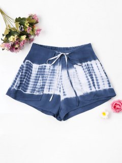 Tie Dye Tied Shorts - Slate Blue L