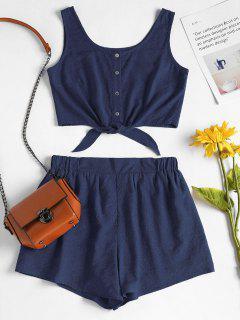 Sleeveless Button Up Crop Top And Shorts Set - Deep Blue L