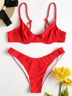 Cami High Cut Bikini - Love Red M