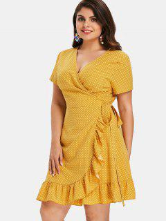 Polka Dot Plus Size Ruffles Wrap Dress - Rubber Ducky Yellow 4x