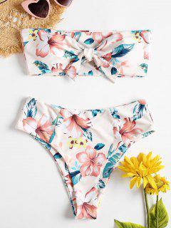 Trägerloser Blumen Hohe Beine Bikini Badeanzug - Multi M