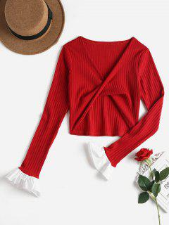 Twist Front Flare Sleeve Tee - Love Red L