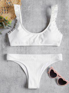 Ribbed Frilled Hem Bikini Set - White M