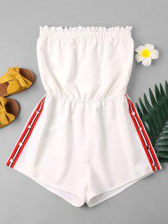 Striped Patched Strapless Romper - White M