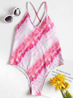 Tie Dye High Cut Backless Swimsuit - Light Pink M