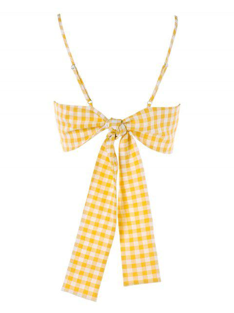 new Twist Front Gingham Cami Top - YELLOW XL Mobile