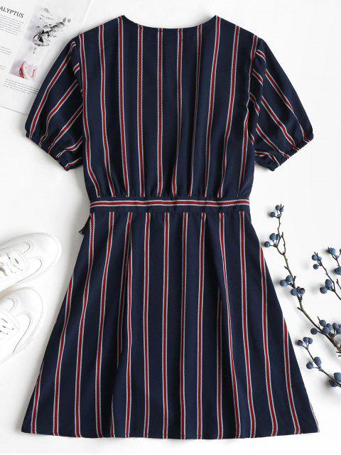 Mini-robe Enveloppante à Rayures et en Mousseline de Soie - Bleu profond L Mobile