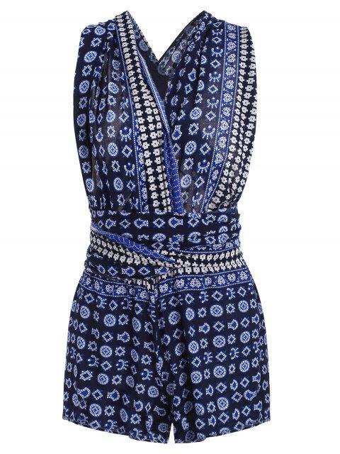 latest Criss Cross Geometric Romper - MIDNIGHT BLUE L Mobile