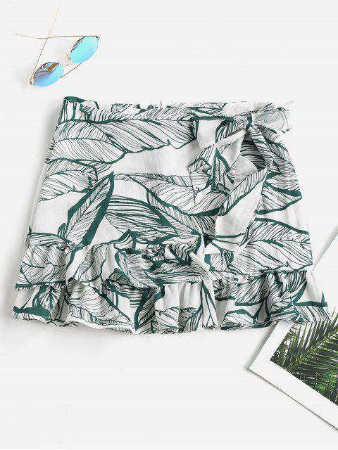 Falda con volantes y estampado de hojas - Mar Verde Mediana L Mobile