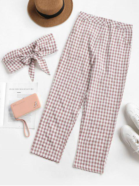 shop Knotted Gingham Pants Set - LIPSTICK PINK M Mobile
