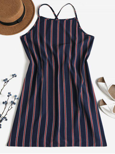 fancy Striped Shift Backless Dress - DEEP BLUE M Mobile