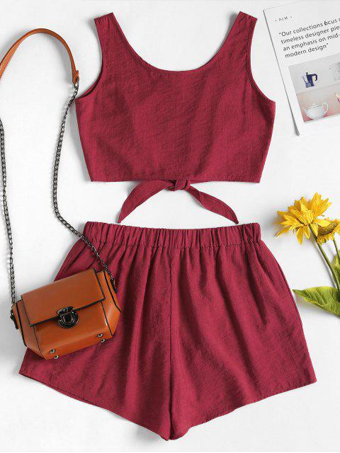 fancy Sleeveless Button Up Crop Top and Shorts Set - RED WINE L Mobile