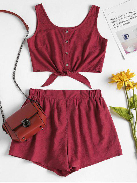 sale Sleeveless Button Up Crop Top and Shorts Set - RED WINE S Mobile