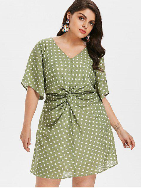 latest Plus Size Ruched Polka Dot Dress - IGUANA GREEN 1X Mobile