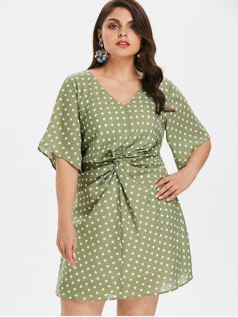 chic Plus Size Ruched Polka Dot Dress - IGUANA GREEN 4X Mobile