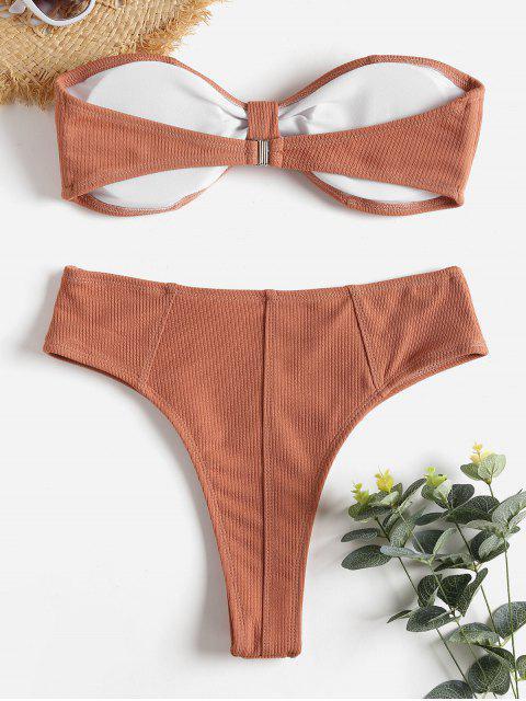 chic Ribbed Knot High Waisted Bikini Set - DARK SALMON L Mobile