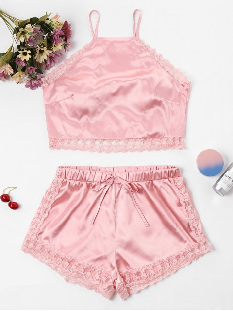 latest Satin Lace Trim Cami Top and Shorts Set - PINK XL Mobile
