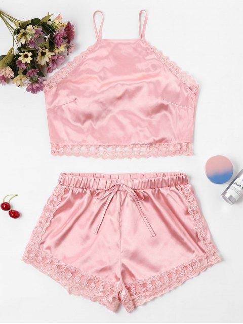 Conjunto de pantalón corto y top de encaje satinado con encaje - Rosado XL Mobile