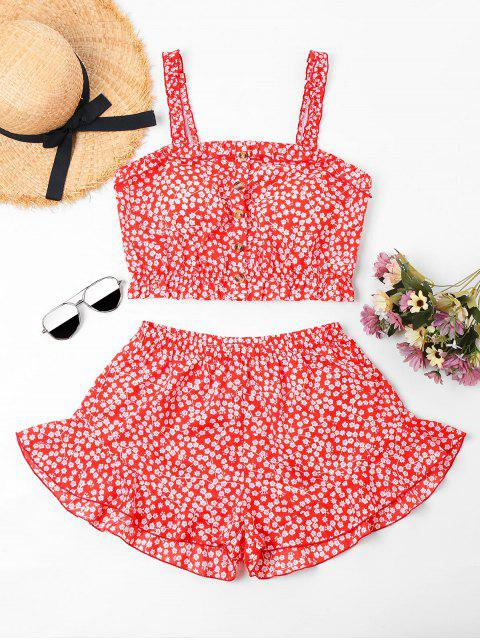 ladies Floral Ruffled Cami Top and Shorts Set - RED XL Mobile