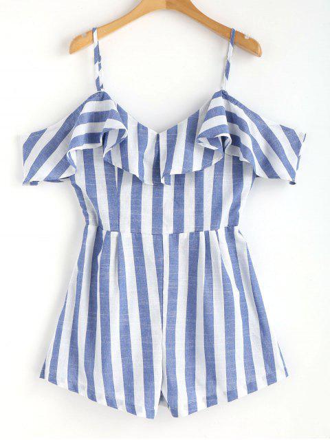 Combi-short rayé à épaules dénudées Cami - Bleu S Mobile
