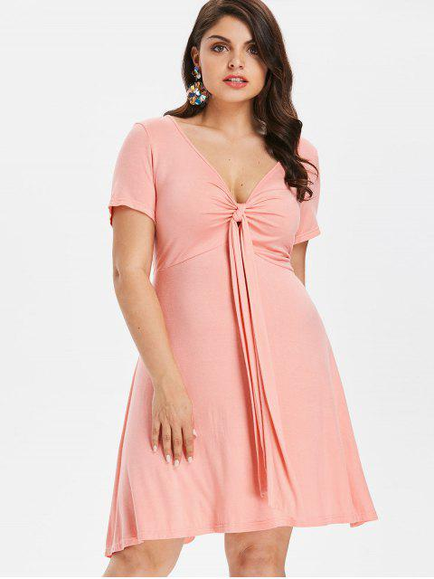 outfits Plus Size Knot Plunge A Line Dress - LIGHT PINK 2X Mobile