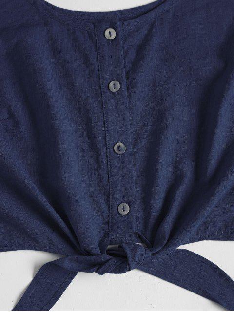 Set Top Corto Sin Mangas y Shorts - Azul Profundo M Mobile
