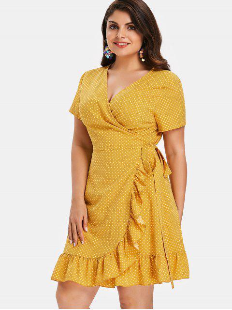 hot Polka Dot Plus Size Ruffles Wrap Dress - RUBBER DUCKY YELLOW 3X Mobile