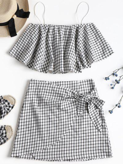 Plaid Cami Skirt Set - White Xl
