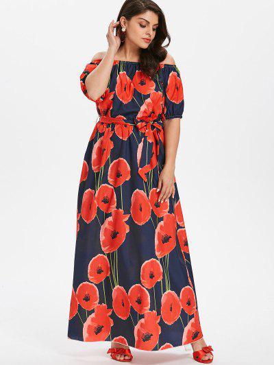 91a1d394a Plus Size Floral Belted Dress - Dark Slate Blue 4x ...