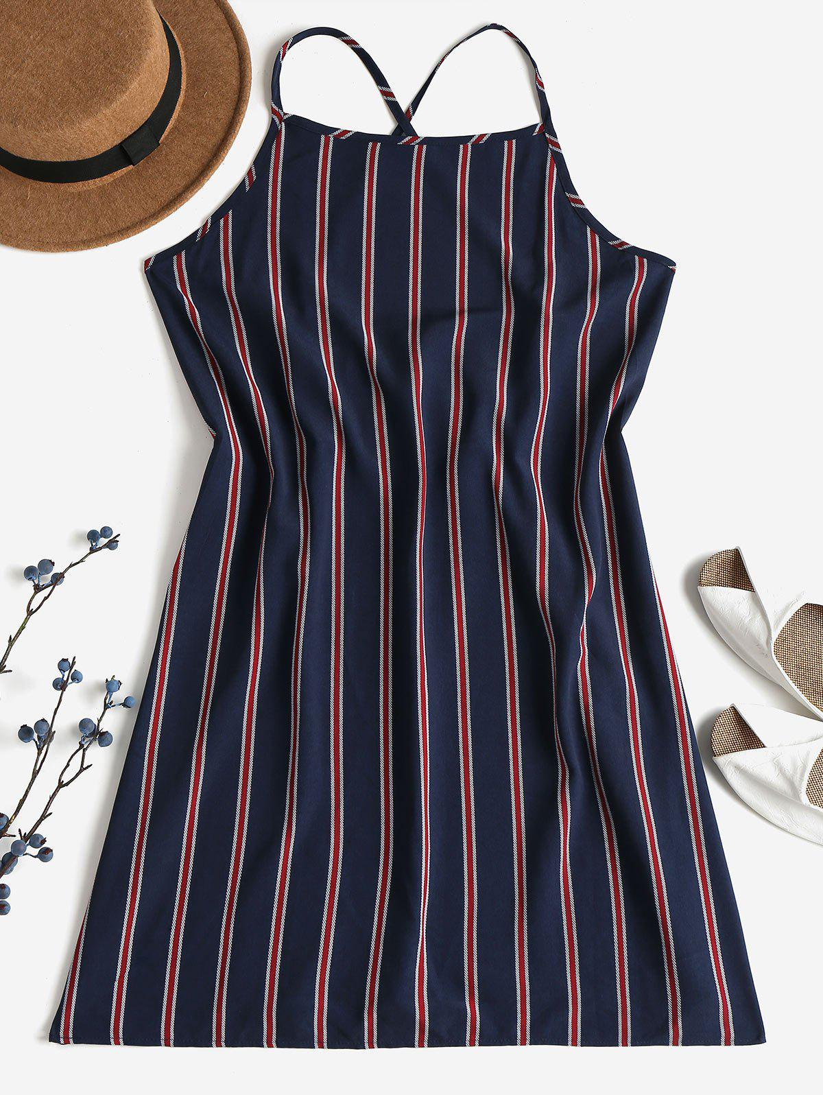 Striped Shift Backless Dress