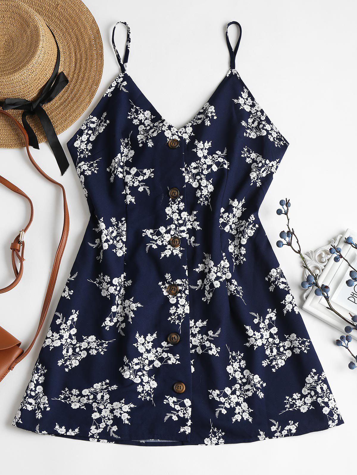 Floral Print Buttoned