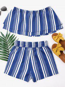De Pantalones Ar De Con 225;ndanos Azul Cortos M Rayas Conjunto 6dxfwq56