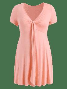 Claro Dress Plunge Line Size 4x A Plus Knot Rosa Rv0z0P
