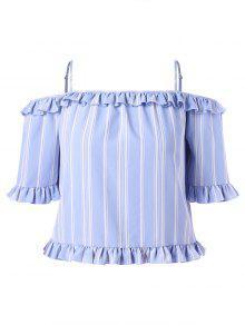 بالاضافة الى حجم شريط الكتف الباردة الرتوش تقليم بلوزة - الضوء الأزرق 1x