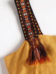 Mini De Brillante Vestido Anudadas Borlas Amarillo 44g1qrw