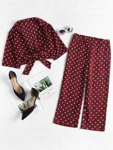 Con De Xl De Lazo Tinto Vino Lunares Delanteros Pantalones Conjunto g6tww