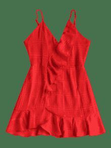 Alta De Camisero Rojo Con Cintura Amo Volantes Vestido S 4AFnZtq