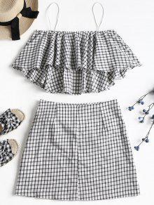 Plaid Skirt Set Cami L Blanco gYHUgq