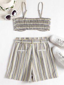 Stripes Y S Top Set Multicolor Shorts Smocked UIZwqax