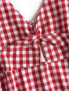 Xl Vestido Rojo Gingham Cereza Camisero Twist BOqxvH