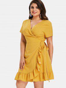 بولكا دوت زائد حجم الكشكشة اللباس التفاف - المطاط الحبيب الأصفر 4x