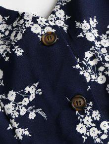 Estampado Floral Con Camisero Medianoche Vestido Azul De L q87pwf1