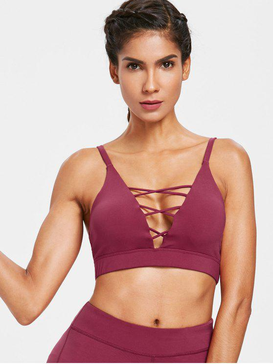women Mid Impact Lattice Plunge Sports Bra - MAROON S