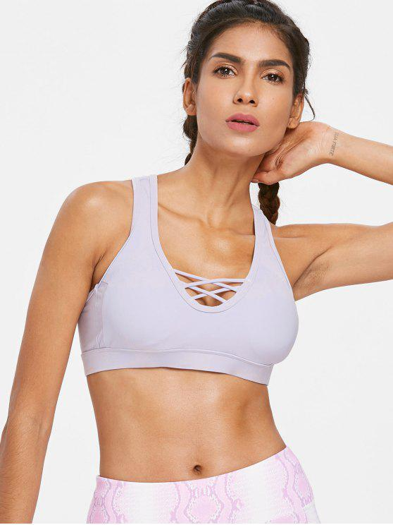 women's Criss Cross Plunge Sports Bra - MAUVE M