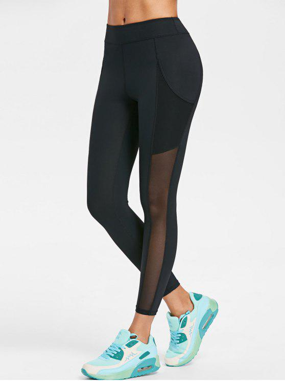 trendy Sports Mesh Panel Leggings - BLACK M