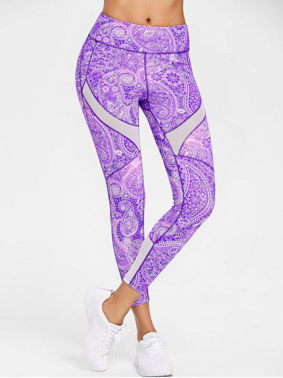 affordable Paisley Mesh Insert Active Leggings - VIOLET M