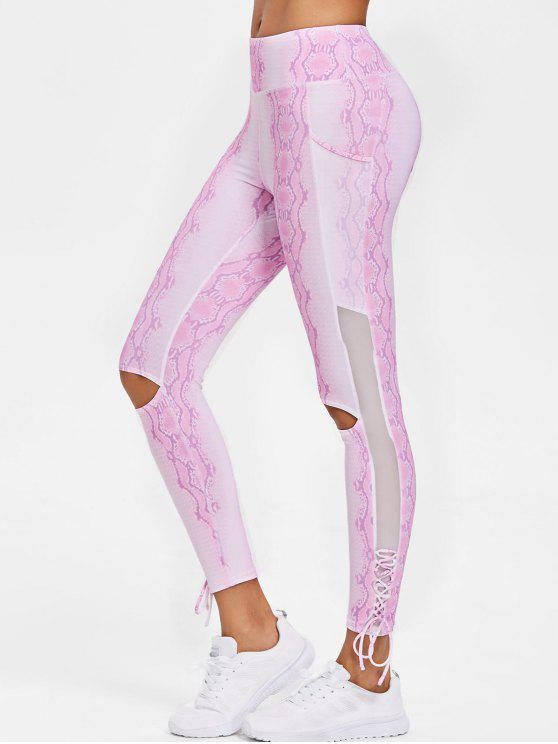 Patrón de serpiente Lace Up Sports Leggings - Azúcar de Algodón  S