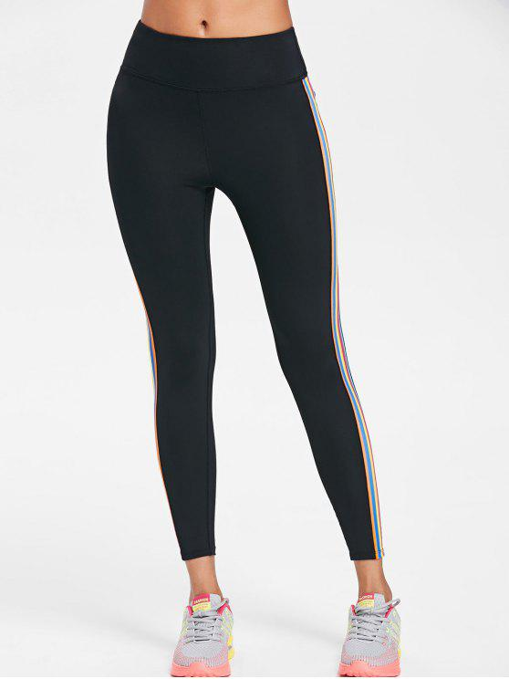 trendy Striped Side High Waisted Active Leggings - BLACK S
