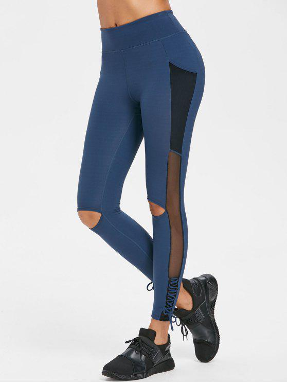 unique Cut Out Lace Up Sports Leggings - DARK SLATE BLUE L