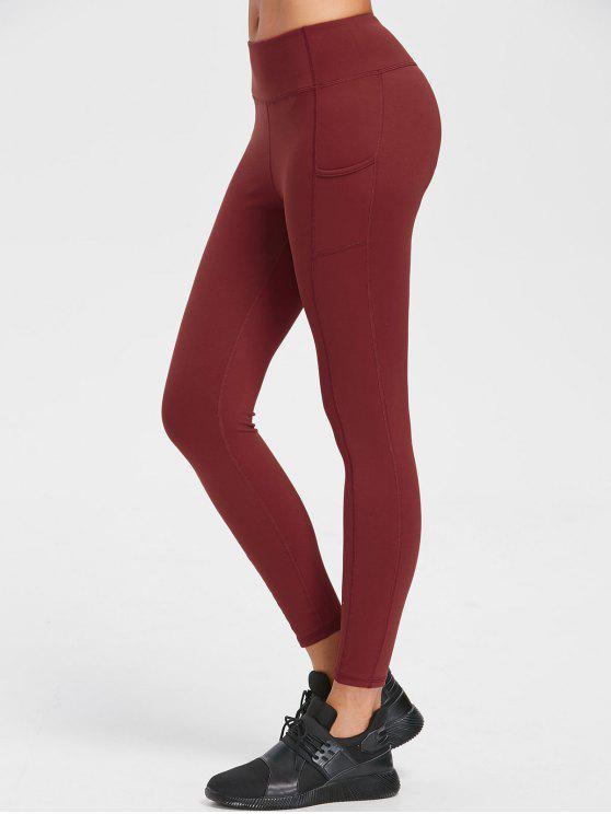 Um bolso Flat costuras Yoga Leggings - Castanha Vermelha M